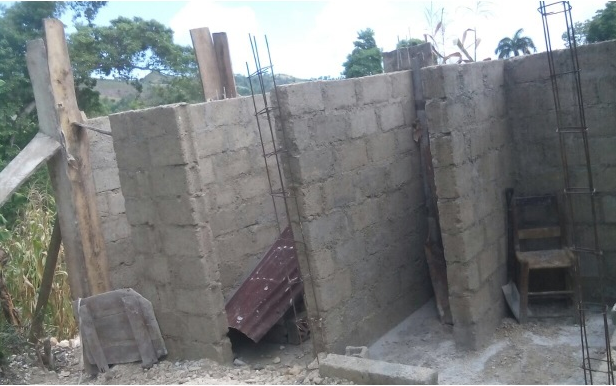 Walls built for 3 new latrine stalls